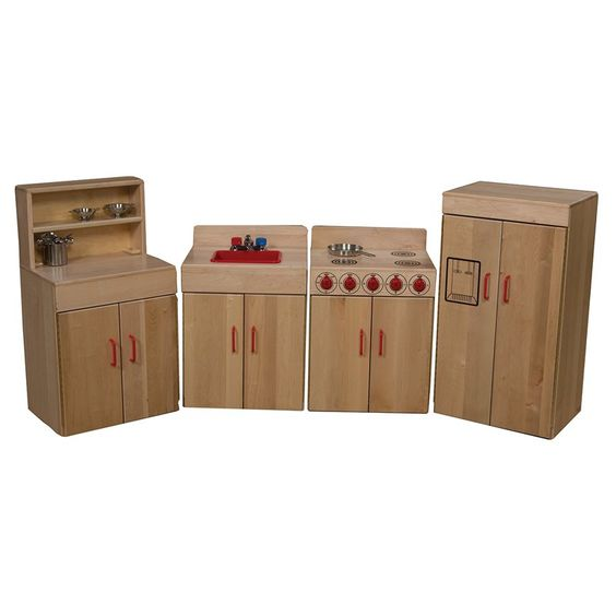 Wood Designs Classic 4 Piece Play Kitchen Set Natural Wd10002
