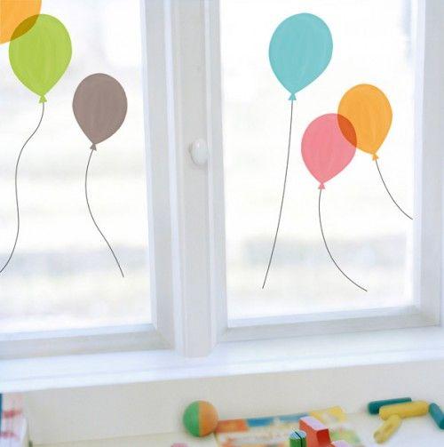 Fensterdeko bastel mit kindern pinterest dekorative fenster aufkleber und luftballons - Fensterdeko karneval ...