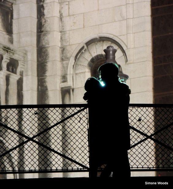 Lover's kiss. Sacre Coeur, Paris, April 2016