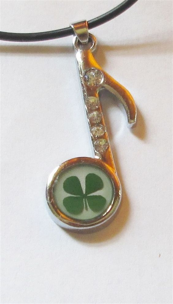 Necklace Shamrock Music Note Four Leaf Clover Pendant Charm Crystal Lucky irish #Unbranded #Pendant