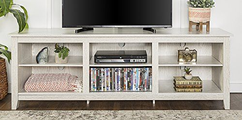 We Furniture 70 Wood Media Tv Stand Console White Wash Tv Stand Console Tv Stand With Storage Furniture