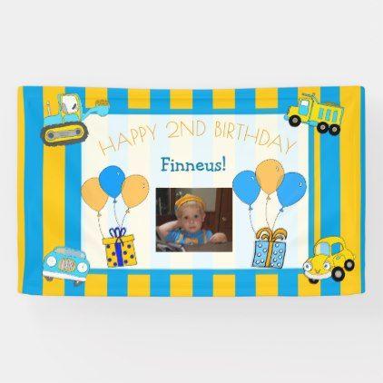 Cute Orange And Blue Happy Birthday Personalized Banner Zazzle