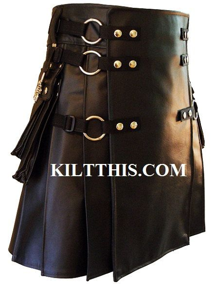 Black Leather Modern Utility Kilt INTERCHANGEABLE by KiltThis, $600.00