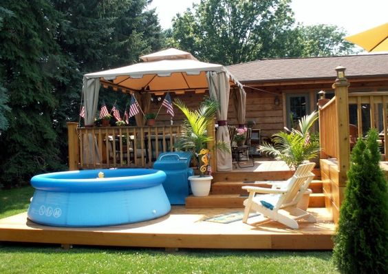 Multi Level Backyard With Pool : Vacation at home with this amazing multi level deck, pool and gazebo