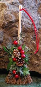 Yule Besom Ornaments; I use to make these 20 years ago to sell at craft supplies. I think I need to make some new ones for my Yule tree... I even still have the supplies...