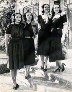 Loretta Young with her sisters Sally Blane, Polly Anne Young, and Georgiana Young: