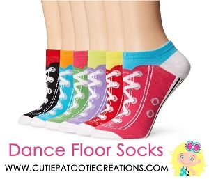 Dance Floor Party Socks Sneaker Pattern Print for Bar Mitzvah, Bat Mitzvah, Wedding, Sweet 16, Quinceanera.