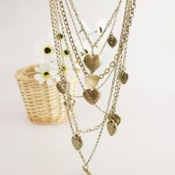 $4.06 Retro Style and Stylish Irregular Heart Shape Pendant Multi-Layered Sweater Chain