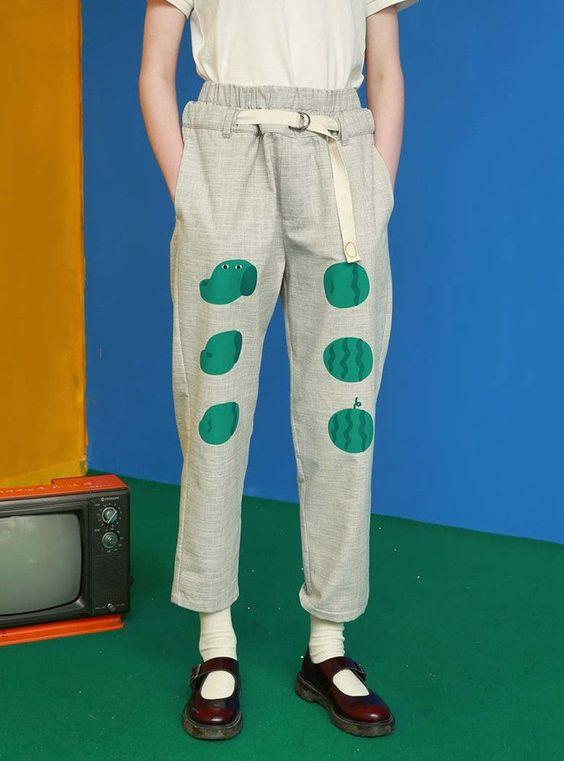 Tyakasha Mr. Green Face Watermelon Linen Pants - BKBT Concept ...