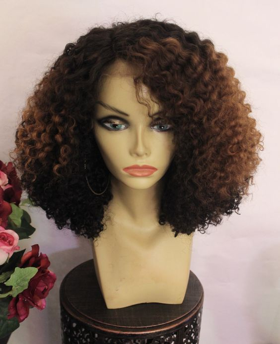 TreBella Wigs Curly 16in closure unit with auburn highlights