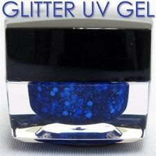 Blue Glitter Powder + Slice UV BUILDER COLOR GEL NAIL