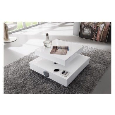 Table basse carr e plateau pivotant blanc laqu table - Table basse tele ...