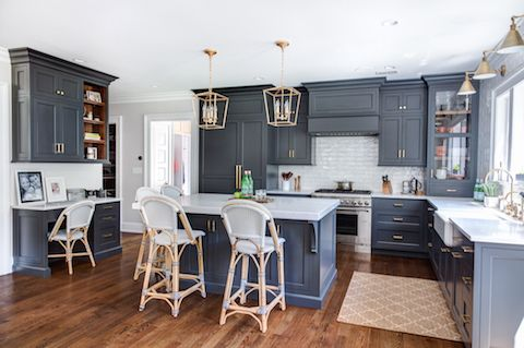 Our No Bead Inset Cabinetry Configuration With Benjamin Moore Wrought Iron Paint Color In Our 10 Sheen Gl Kitchen Design Cabinetry Design Kitchen Renovation