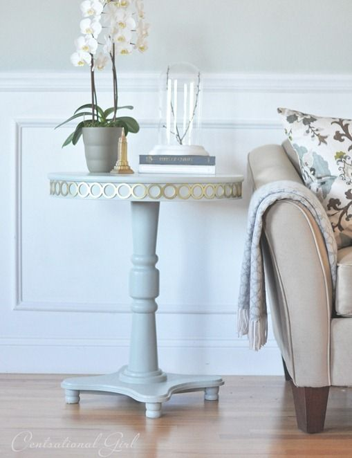 pedestal table makeover with overlays!