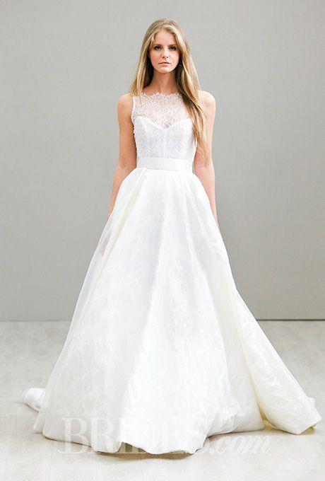 Lazaro spring 2016 illusion neckline wedding and spring for Illusion sweetheart neckline wedding dress