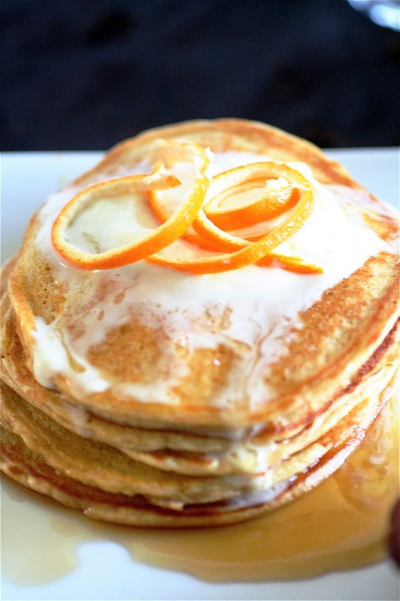 Orange cloud pancakes: Cottage Cheese Pancakes, Orange Pancake, Juice Orange, Cottage Cheese Eggs, Almond Extract, Breakfast Brunch