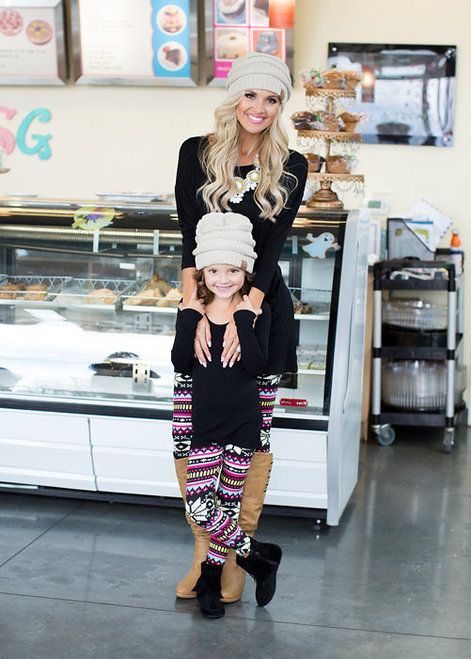 Mommy and Me Bright Snowflake Leggings - Ryleigh Rue Clothing by Modern Vintage Boutique: