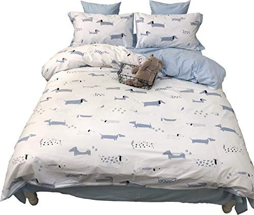 Lelva Dogs Print Beding Cotton Kids Duvet Cover Set With Fitted