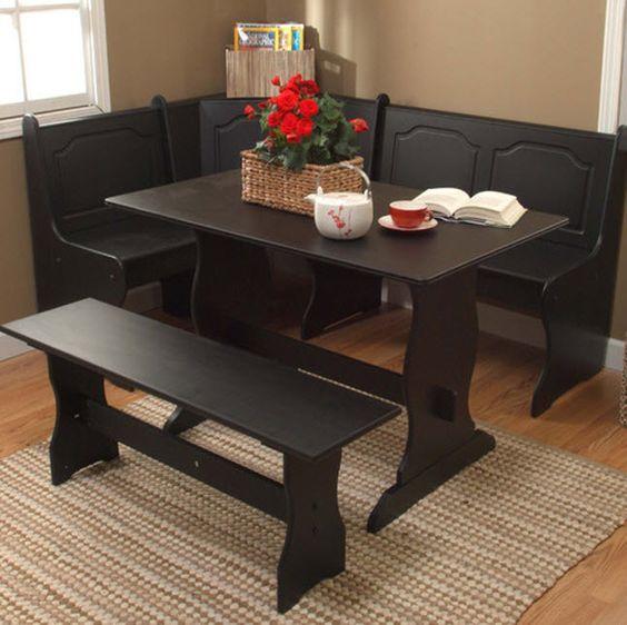 black kitchen dining room wood corner breakfast nook table amp bench chair pc set: black kitchen dining sets