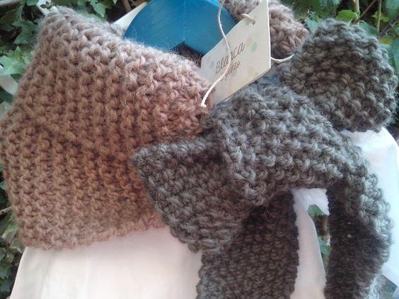 Bufanda de lana, hecha a mano, de blancaypunto