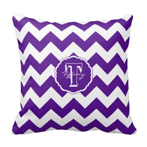 sc monogram square pillow zazzle pillows monogram chevron purple white