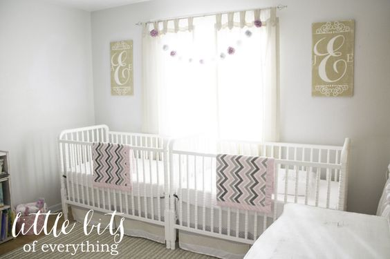 Bright and Neutral Twin Girl Nursery - love the sweet symmetry of this room! #nursery #twins