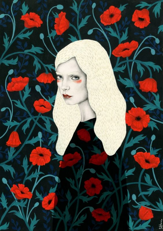 woman, portrait, poppy, poppies: