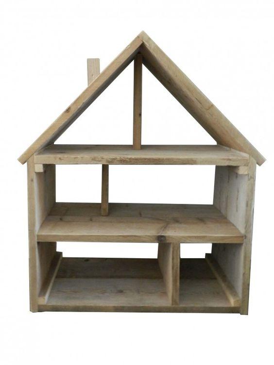 Steigerhout poppenhuis | Kindermeubels | Huis & Grietje Groot poppenhuis gemaakt van originele steigerhoutplanken.  Afmetingen: Hoogte 110 cm x Breedte 88 cm x Diepte 39 cm