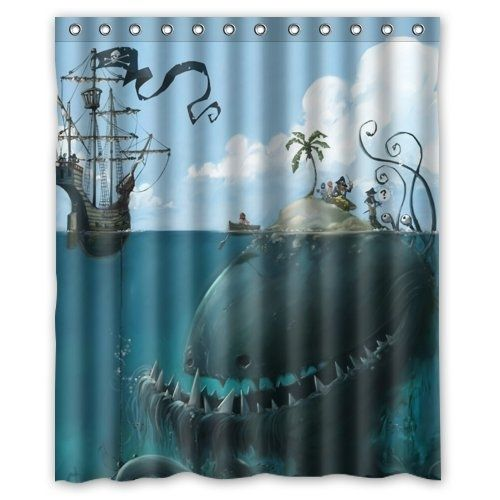 Funny Sea Monster Isle And Pirate Ship Withdesign Shower Curtain