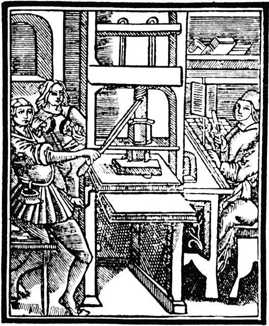 """A prensa de tipos móveis de Gutenberg - sua grande inovação! (e não """"a impressão"""")"""