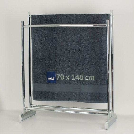 Kela 21985 Handtuchhalter, 2 Stangen, Rostfrei, Verchromtes Metall, 88 cm Höhe, Lunis, Chrom: Amazon.de: Küche & Haushalt