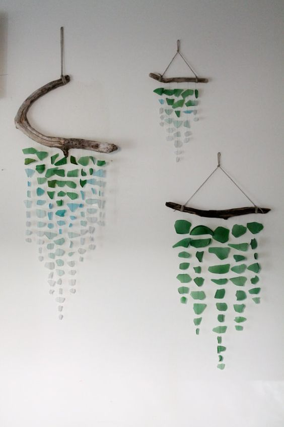 Sea Glass & Driftwood Mobile Green by TheRubbishRevival on Etsy