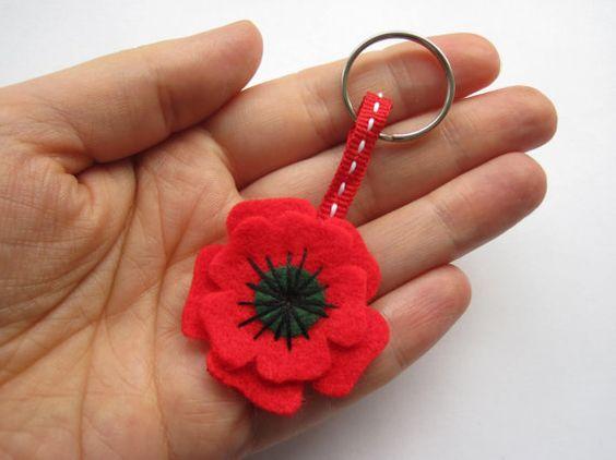 Small Poppy Keyring, Felt Flower, Remembrance Day Poppy, Poppy Appeal