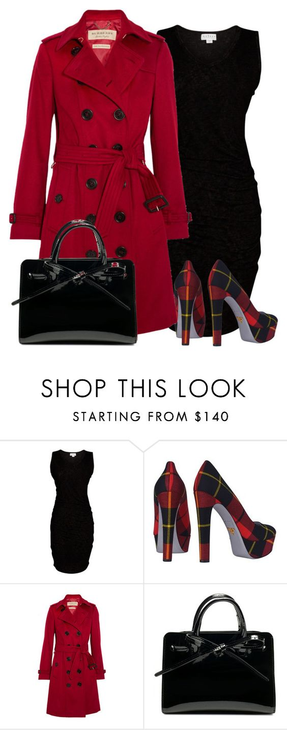 """""""Plaid Heels"""" by paperdollsq ❤ liked on Polyvore featuring Velvet by Graham & Spencer, Prada and Burberry"""