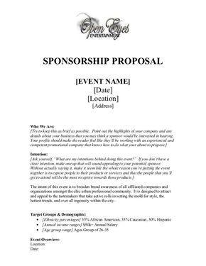Sponsorship Proposal Sponsorship Letter Proposal Letter Event Sponsorship
