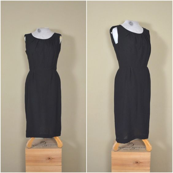 1950s classic little black dress // vintage fitted secretary dress // sexy black cocktail frock // medium // large by langvintage on Etsy