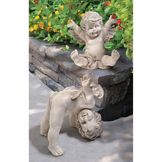 Design Toscano Topsy and Turvey The Tumbling Cherub Statue - Set of 2