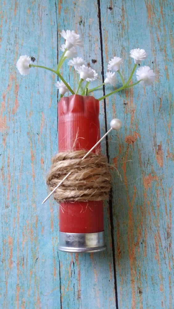 Flower Boutonniere / Baby's Breath by busybeemamajewelryco on Etsy