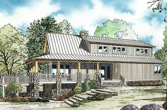 House plans crows and cottages on pinterest for Low country house plans with porches