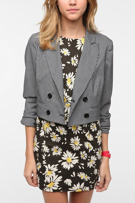 Pins And Needles Mini Check Double Breasted Blazer  #UrbanOutfitters
