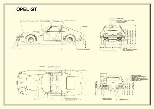 technical drawing 1 opel gt 1900 technical drawing opel gt 1900 technical