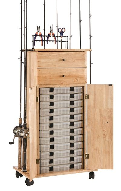 Rod rack fishing and storage cabinets on pinterest for Fishing rod storage