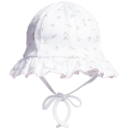Powell Craft - Baby Girls White Floral Cotton Bonnet | Childrensalon