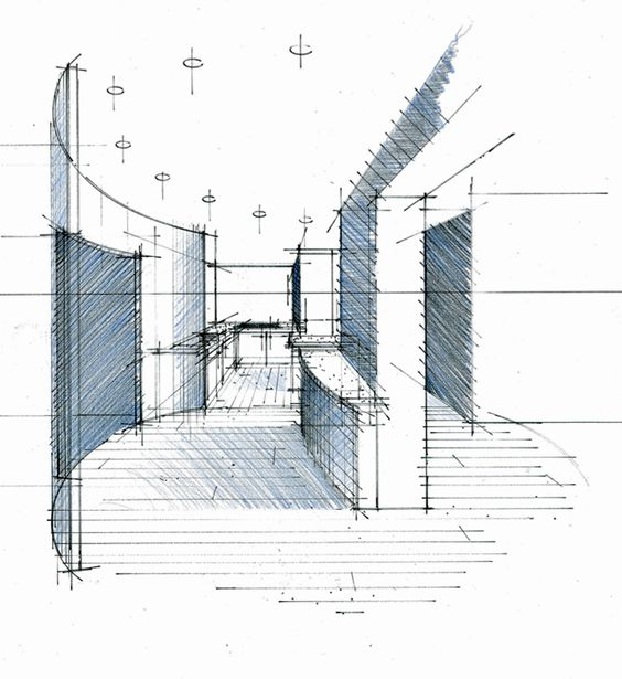Perspective hall bureau cuisine philippe ponceblanc for Dessin architecture interieur