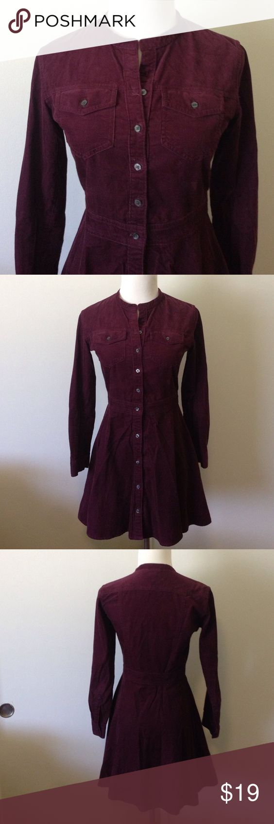 Gap dark purple long slv corduroy dress Sz 0petite Re-Posh as the petite length just didn't work for me. Dark eggplant purple corduroy shirtdress with a-line skirt. Perfect with boots & tights for winter! Buttons all the way down front. 7/8 sleeves. Price firm unless bundled. GAP Dresses