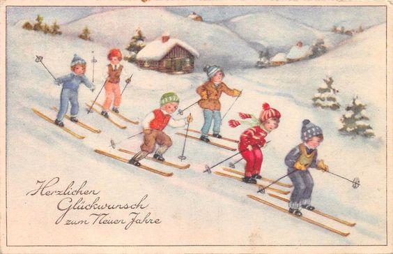 AK Zum Neuem Jahre Kinder fahren Ski Schneeschuhe HWB Postkarte 1939 in Sammeln & Seltenes, Ansichtskarten, Motive | eBay