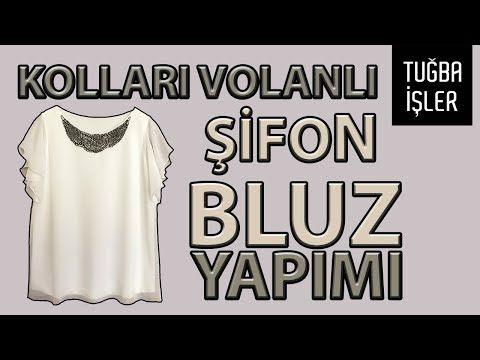 Kollari Volanli Bluz Yapimi Sifon Bluz Dikimi Kendin Yap Tugba Isler Youtube Sifon Bluzlar Bluz Kendin Yap Gomlek