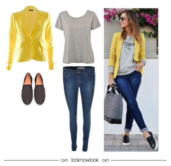 Get the Look: Blazer amarelo + T-shirt cinza mescla + Calça jeans skinny + Tênis…: