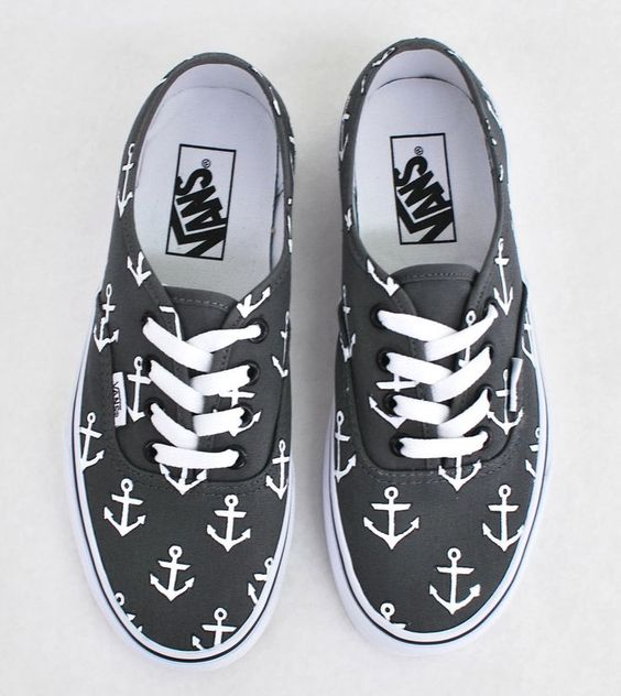 Tendance Basket Femme 2017- Custom Hand Painted Sailor Nautical Theme Anchor Pattern Charcoal Vans Authentic Shoes  Vans Off The Wall  Made To Order Custom Sneakers: