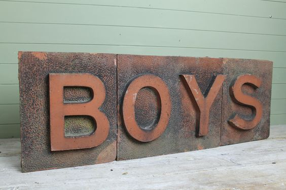 Large block sign removed from school www.robhallantiques.co.uk